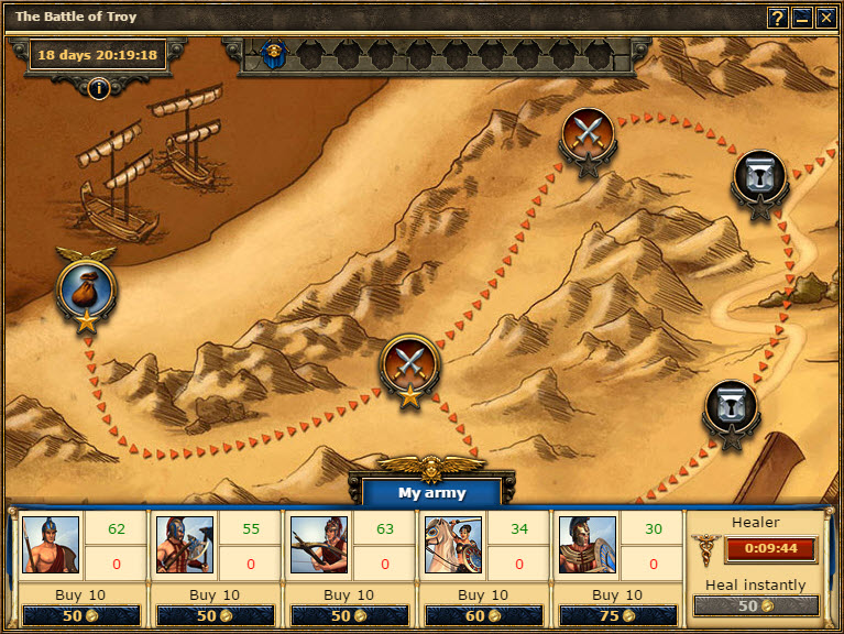 The raid against Troy is shown as a map on which you can see all the ...